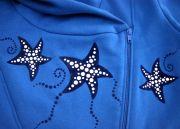 толстовка с бархатным рисунком - морские звёзды