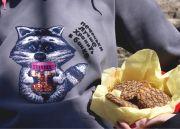 """Женская толстовка-свитшот с красивым бархатным енотиком и надписью """"Печеньки лучше хранить в банке""""."""